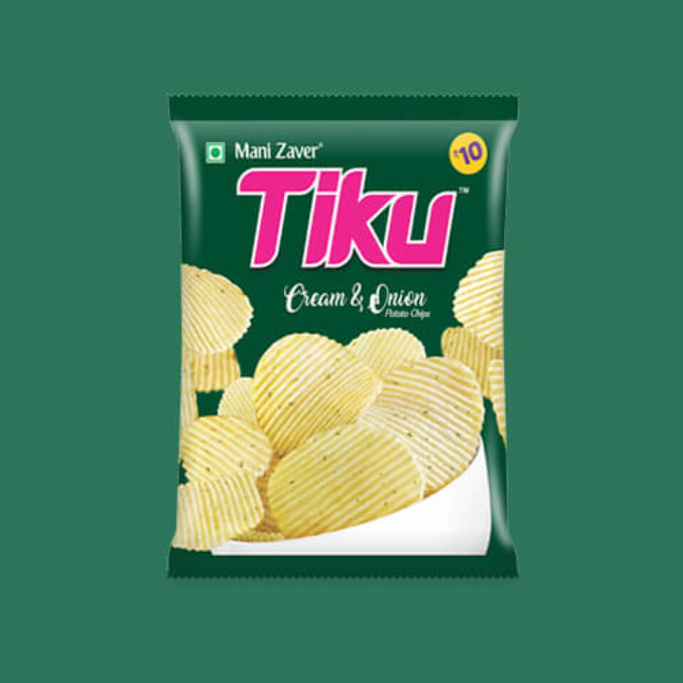 Tiku Best Cream & Onion Potato Chips in Gujarat - Tiku Snacks