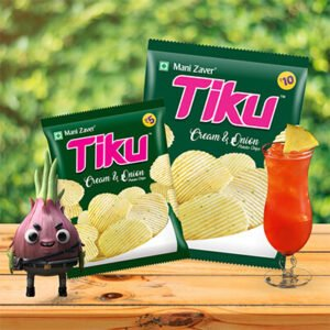 Tiku Potato Cream & Onion Chips packets in green color with juice glass