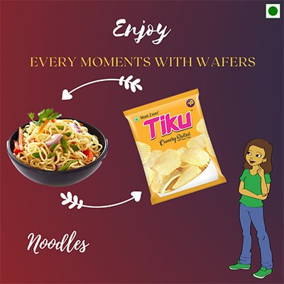 Tiku Crunchy Slated Wafer packets in yellow color with bowl of noodles