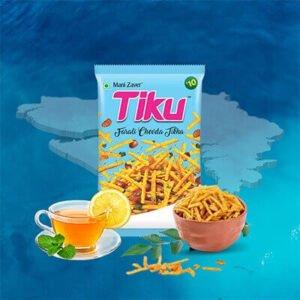 Tiku Farali Chevda Tikha Packet in sky blue color with green tea