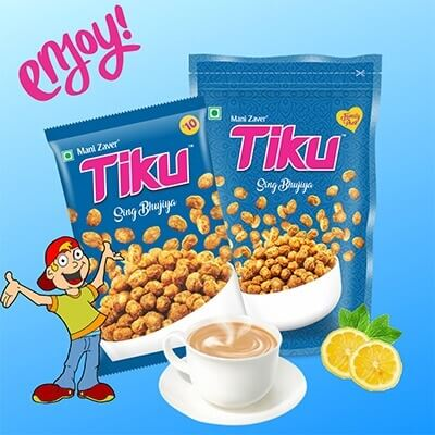 Blue Color Tiku Sing Bhujiya Packets with same color background