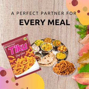 Tiku Soya Stick Packet in Maroon color packet with one full dish of Gujarati Meal